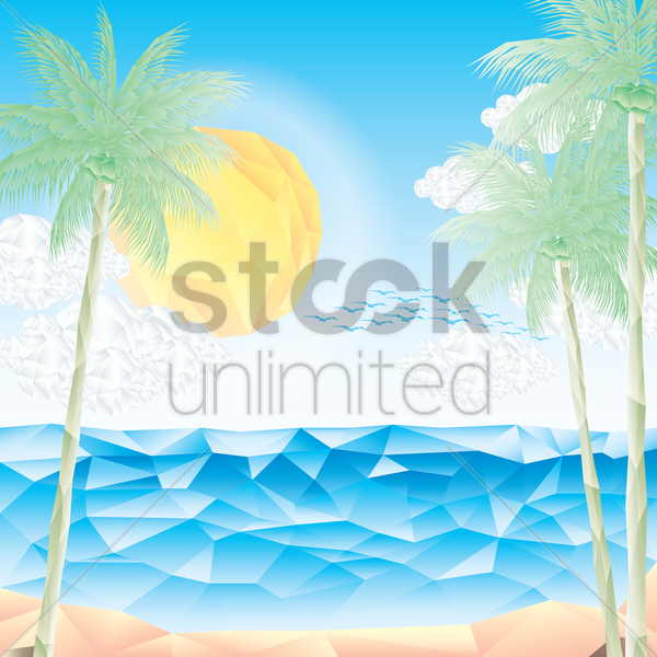 faceted beach landscape vector graphic
