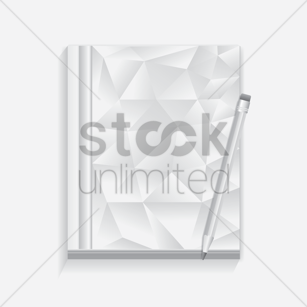 faceted book with pencil vector graphic