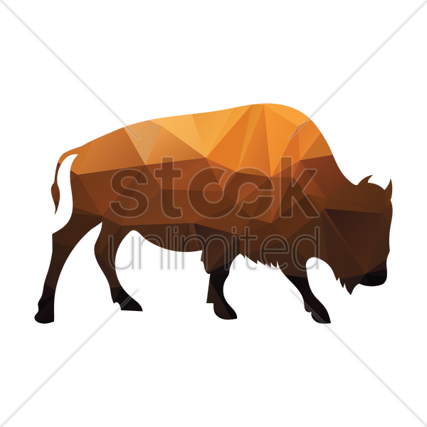 faceted bull vector graphic