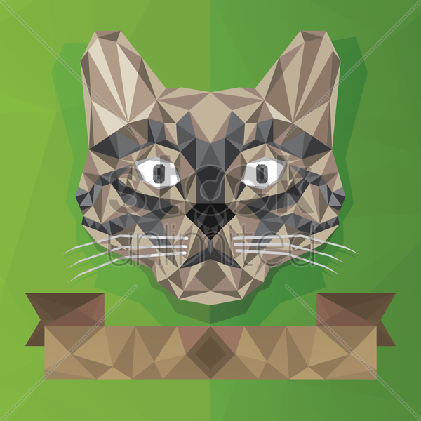 faceted cat face vector graphic