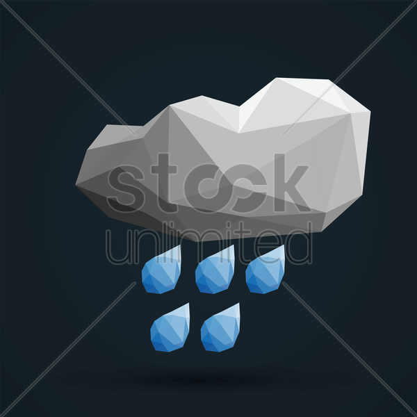 faceted cloud and rain vector graphic
