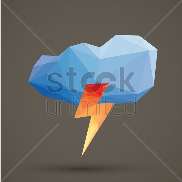faceted cloud and thunder vector graphic