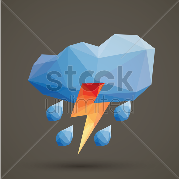 faceted cloud thunder and rain vector graphic