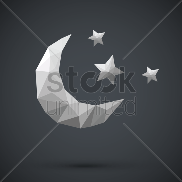 faceted crescent moon and stars vector graphic