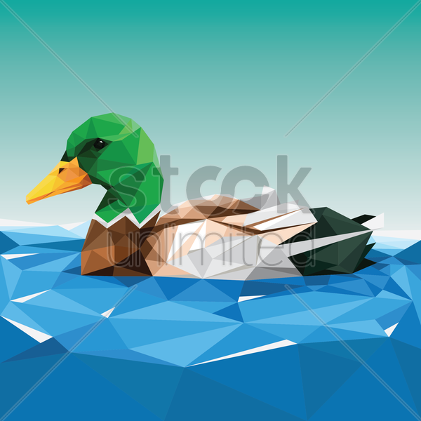 faceted duck vector graphic