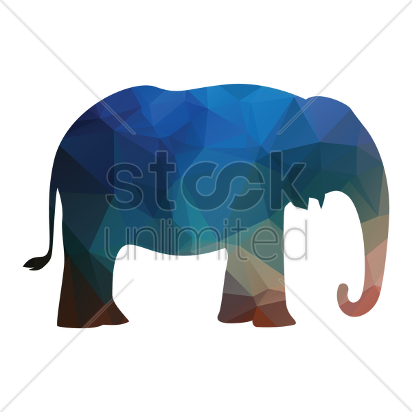 faceted elephant vector graphic