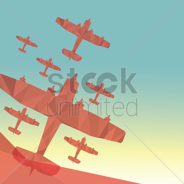faceted glider planes vector graphic