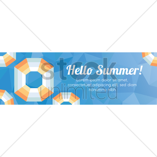 faceted hello summer banner vector graphic