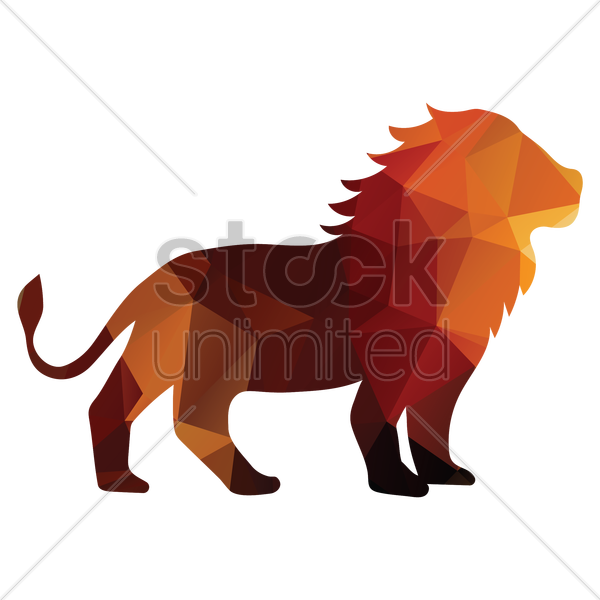 faceted lion vector graphic
