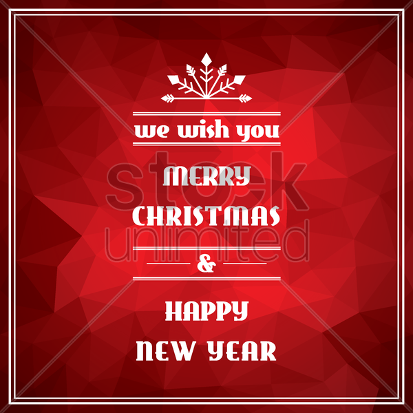 faceted merry christmas and happy new year card vector graphic
