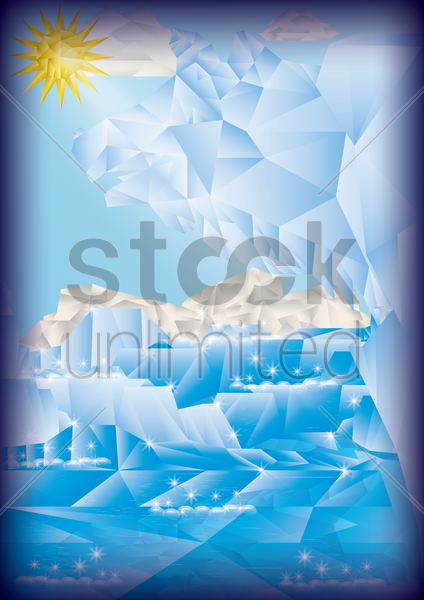 faceted snow poster vector graphic