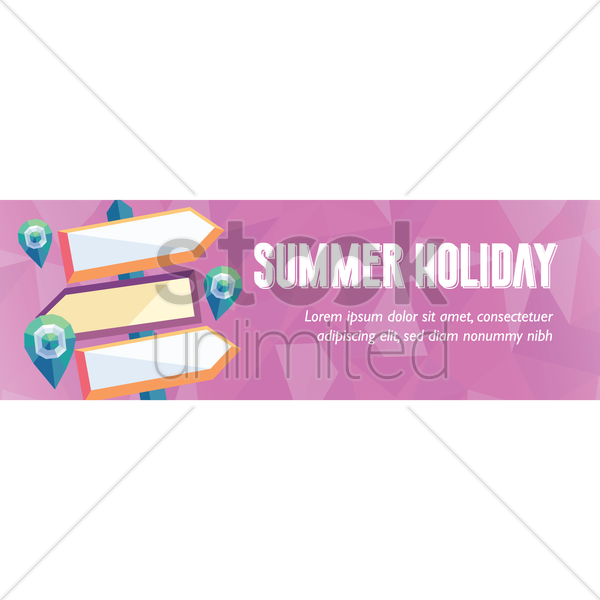 faceted summer holiday banner vector graphic