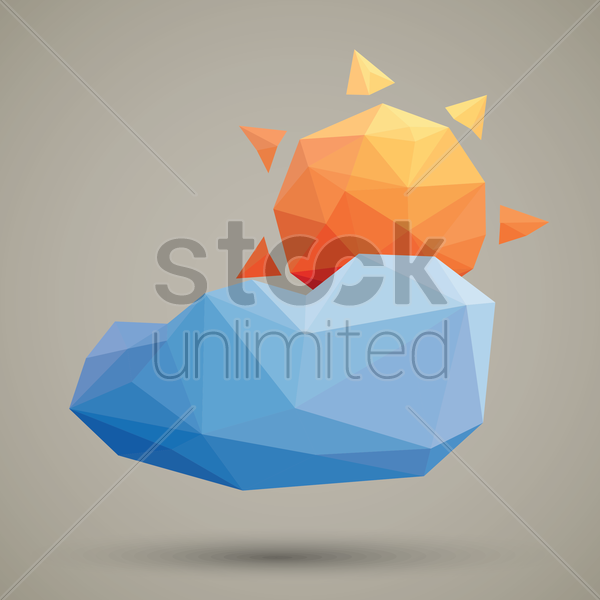 faceted sun and cloud vector graphic
