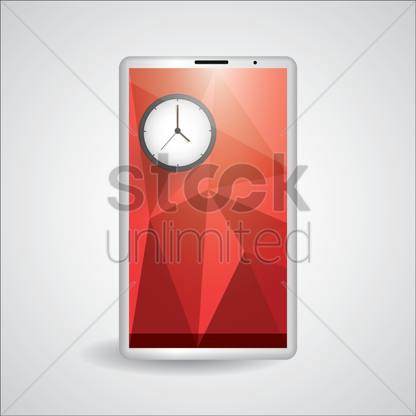 faceted tablet with clock vector graphic