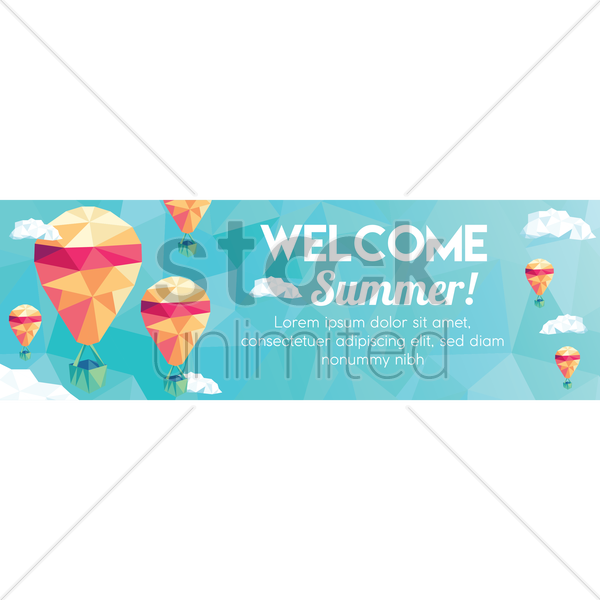 faceted welcome summer banner vector graphic