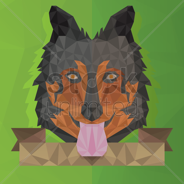 faceted wolf face vector graphic