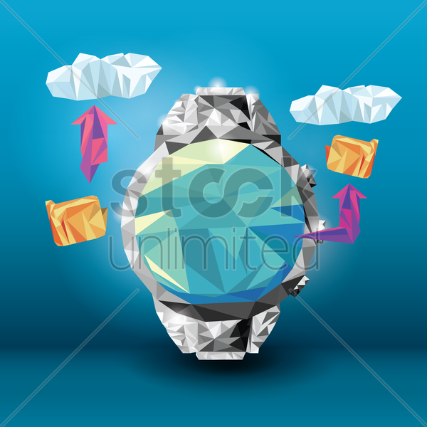 faceted wrist watch vector graphic