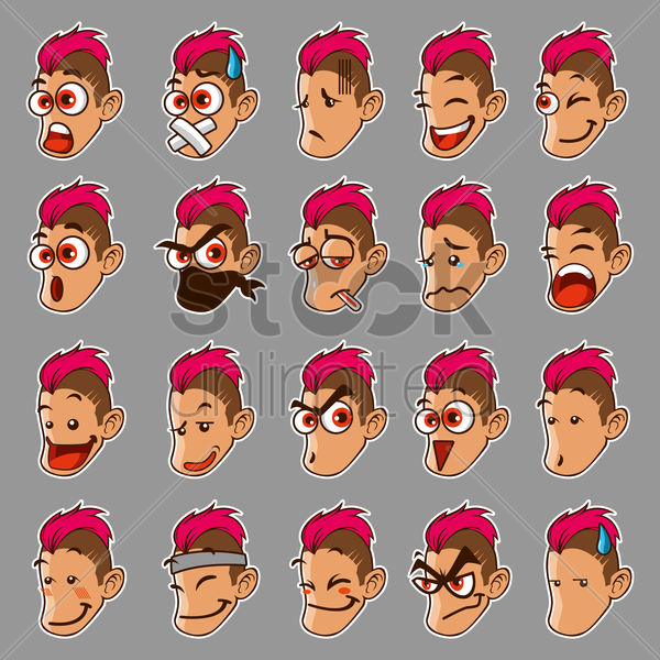 facial expressions set vector graphic