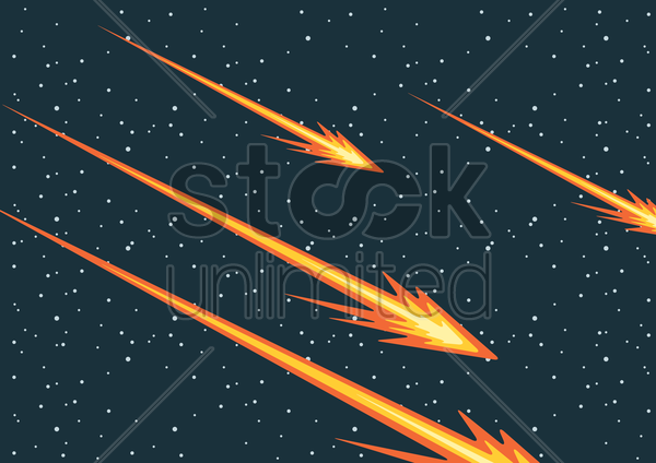 Free falling meteorites vector graphic