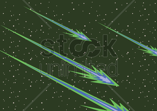 falling meteorites vector graphic