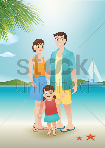 family at the beach vector graphic