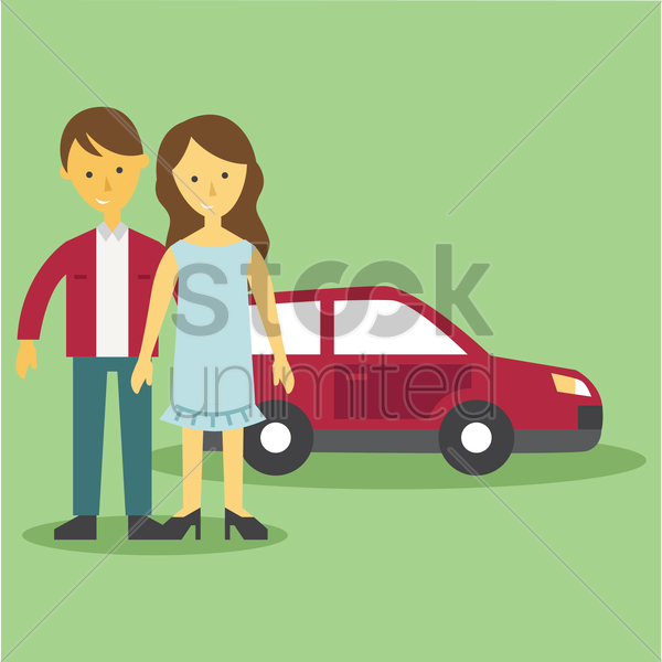 family car vector graphic