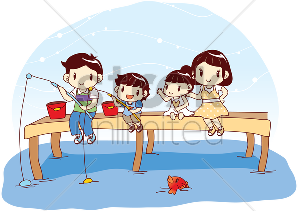 family catching fish with fishing rod vector graphic