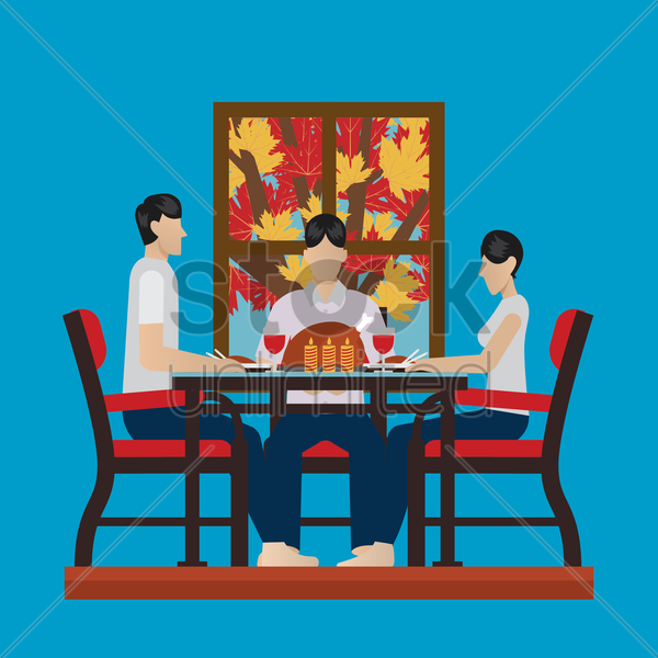 family celebrating thanksgiving vector graphic
