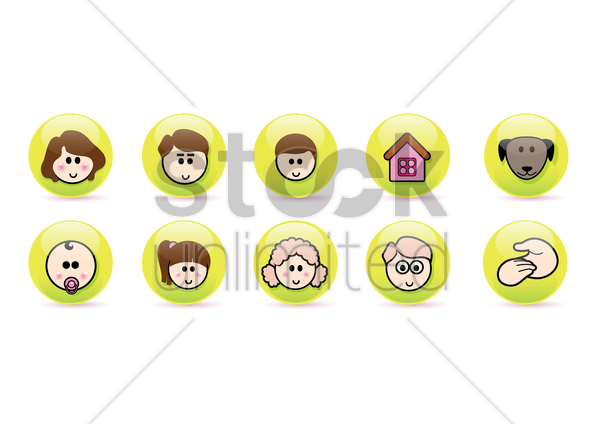 Free family collection vector graphic
