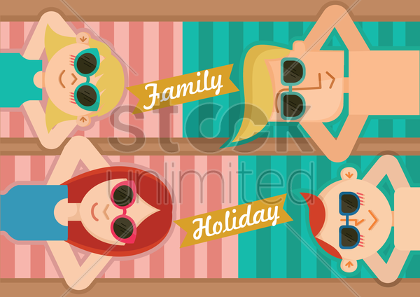 family holiday vector graphic