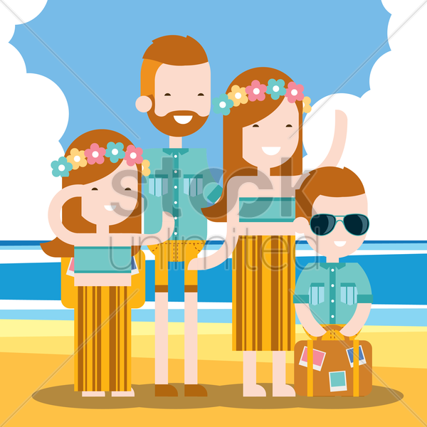 family holidaying on beach vector graphic