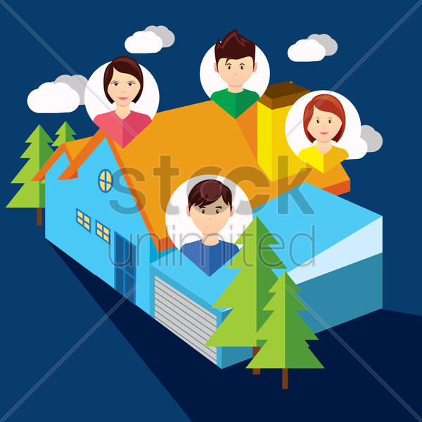 family home vector graphic