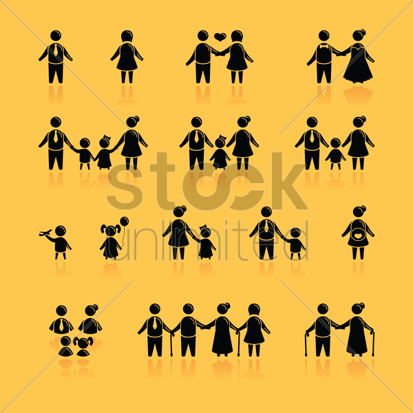 family icon collection vector graphic