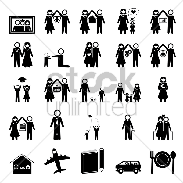 family icons collection vector graphic