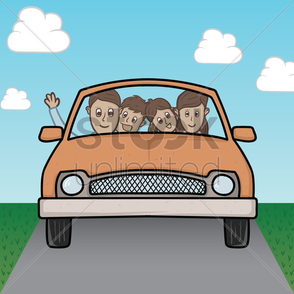 family in a car vector graphic