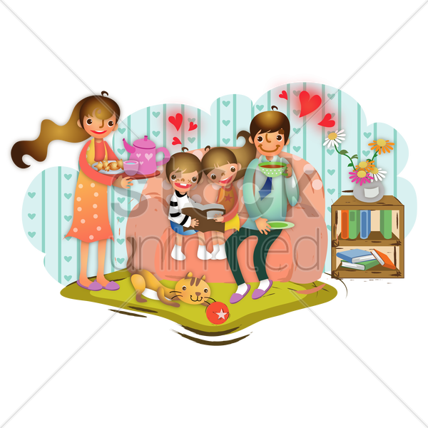 family in a living room vector graphic
