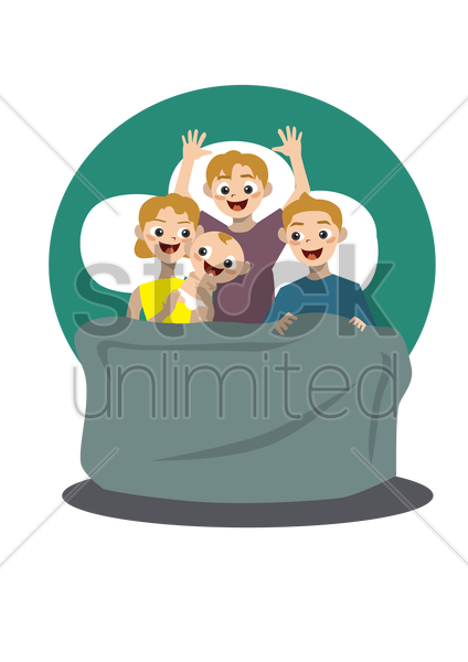Free family in bed vector graphic
