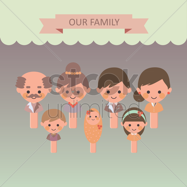 family members vector graphic