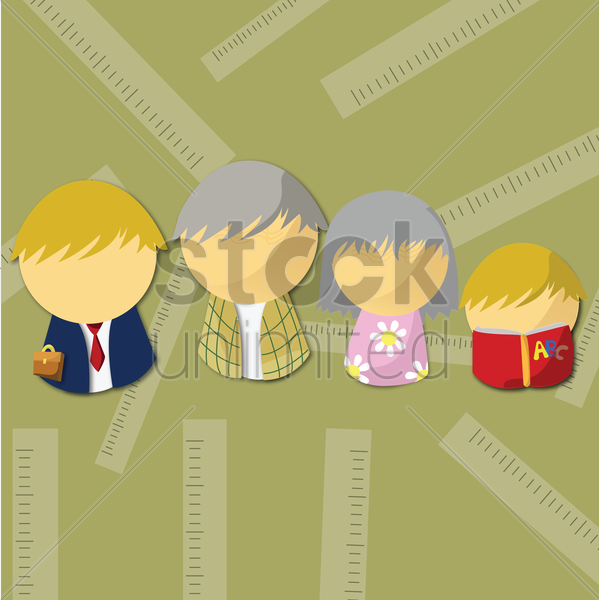 Free family of four vector graphic