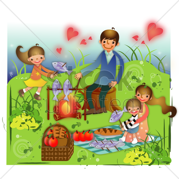family on a picnic vector graphic