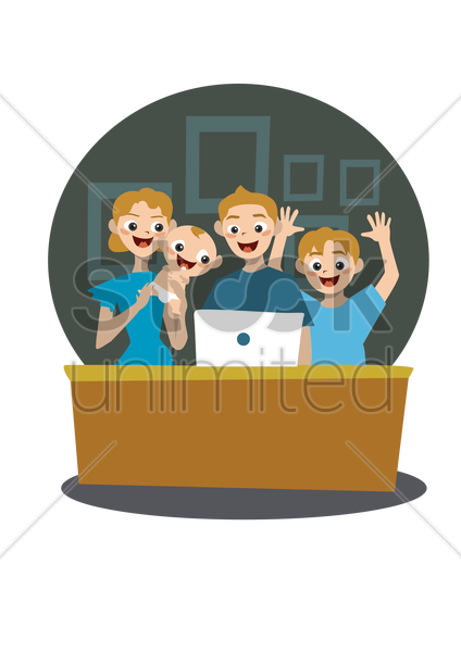 family on computer vector graphic
