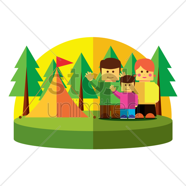 family on vacation vector graphic