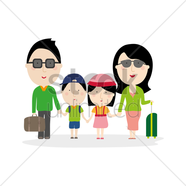 family out for holiday vector graphic