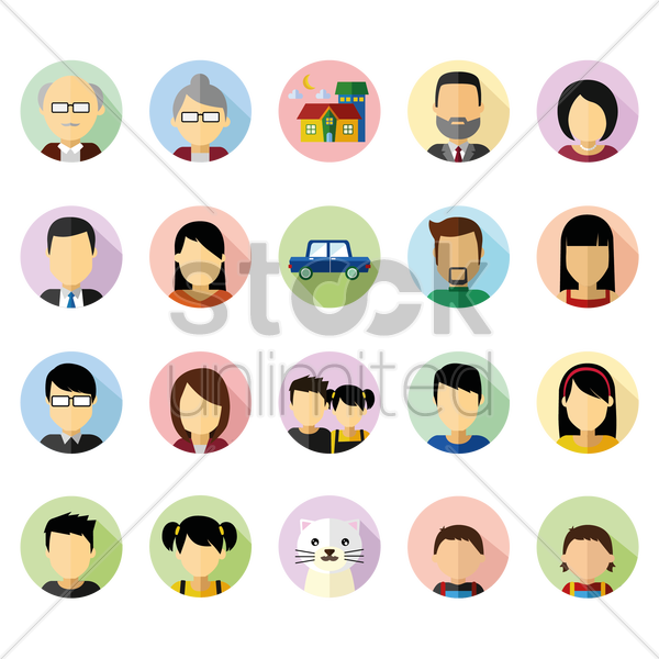 family set vector graphic