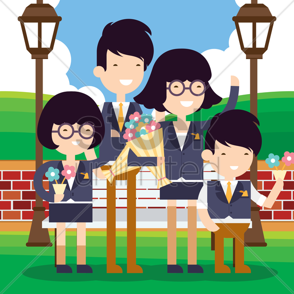 family standing at park holding flowers vector graphic