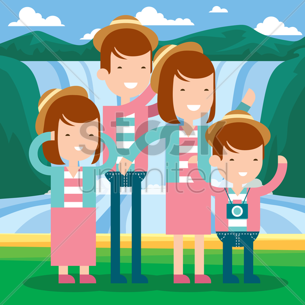 family standing at waterfalls vector graphic