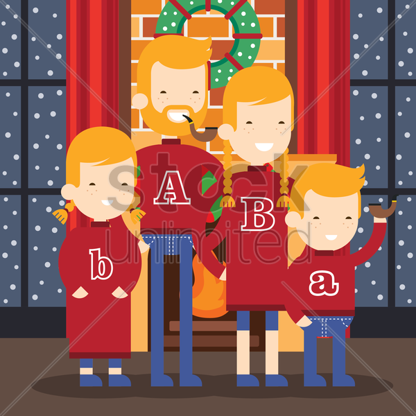 family standing near fireplace vector graphic