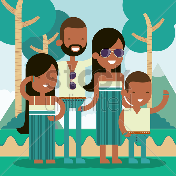 family standing outdoors vector graphic