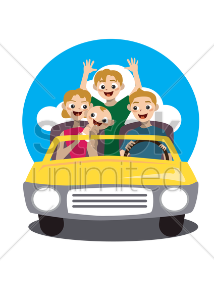 family traveling in a car vector graphic