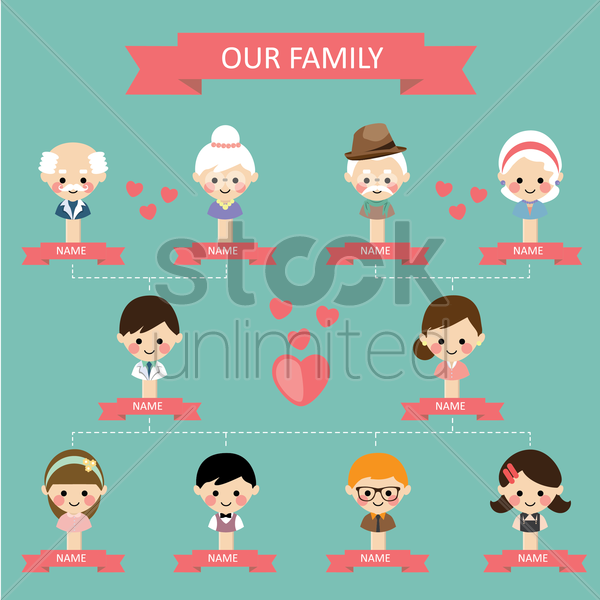 family tree vector graphic